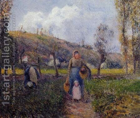 Peasant Woman and Child Harvesting the Fields, Pontoise by Camille Pissarro - Reproduction Oil Painting