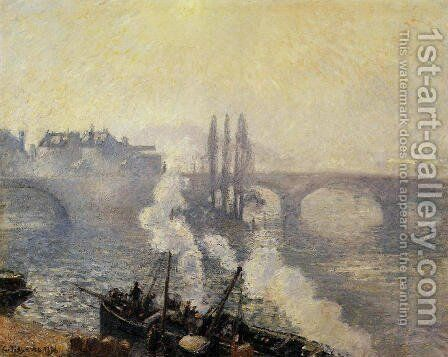 The Pont Corneille , Rouen: Morning Mist by Camille Pissarro - Reproduction Oil Painting