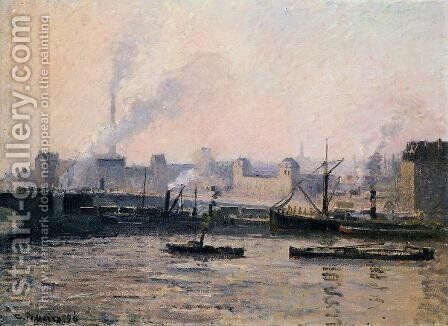 The Pont Boieldieu , Rouen: Fog by Camille Pissarro - Reproduction Oil Painting