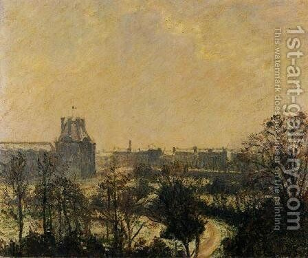Garden of the Louvre: Snow Effect by Camille Pissarro - Reproduction Oil Painting