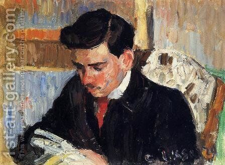 Portrait of Rodo Pissarro Reading by Camille Pissarro - Reproduction Oil Painting