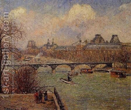View of the Seine from the Raised Terrace of the Pont-Neuf by Camille Pissarro - Reproduction Oil Painting