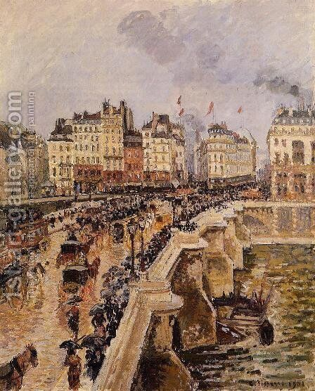 The Pont-Neuf: Rainy Afternoon by Camille Pissarro - Reproduction Oil Painting