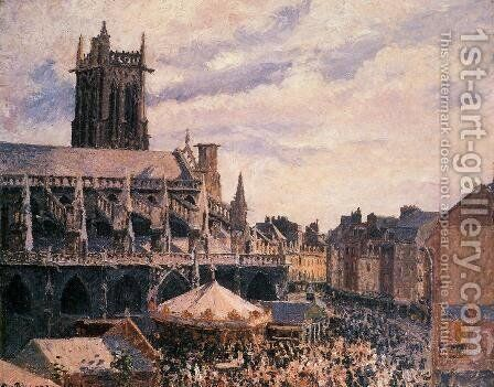 The Fair by the Church of Saint-Jacques, Dieppe by Camille Pissarro - Reproduction Oil Painting