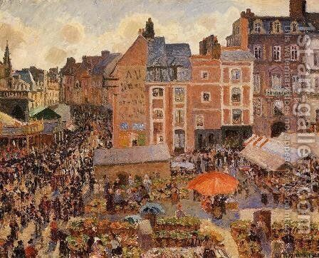 The Fair, Dieppe: Sunny Afternoon by Camille Pissarro - Reproduction Oil Painting