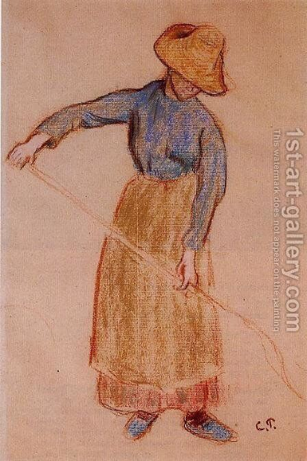 Peasant with a Pitchfork by Camille Pissarro - Reproduction Oil Painting