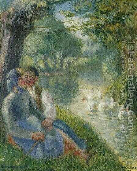 Lovers Seated at the Foot of a Willow Tree by Camille Pissarro - Reproduction Oil Painting