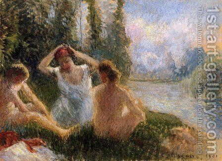 Bathers Seated on the Banks of a River by Camille Pissarro - Reproduction Oil Painting