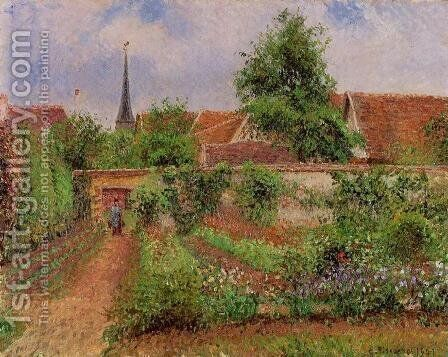 Vegetable Garden in Eragny, Overcast Sky, Morning by Camille Pissarro - Reproduction Oil Painting