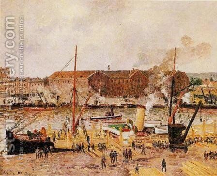 Unloading Wood at Rouen by Camille Pissarro - Reproduction Oil Painting