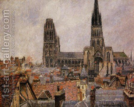 The Roofs of Old Rouen: Grey Weather by Camille Pissarro - Reproduction Oil Painting