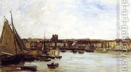The Port of Dieppe by Charles-Francois Daubigny - Reproduction Oil Painting