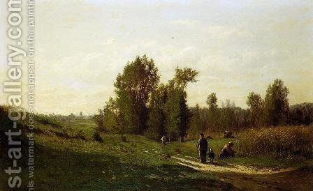 Chemin d'Ezeuville, pres d'Ecouen by Emile Charles Lambinet - Reproduction Oil Painting