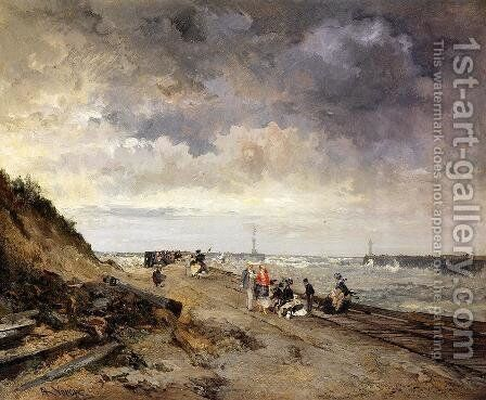Boulogne-sur-mar by Alexandre-Rene Vernon - Reproduction Oil Painting