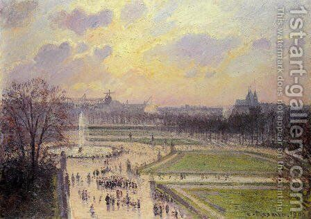 The Bassin des Tuileries: Afternoon by Camille Pissarro - Reproduction Oil Painting