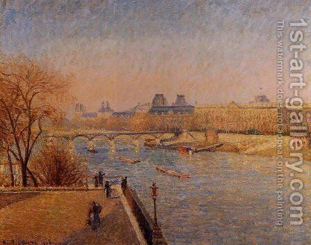 The Louvre: Winter Sunshine, Morning by Camille Pissarro - Reproduction Oil Painting