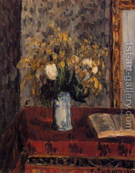 Vase of Flowers, Tulips and Garnets by Camille Pissarro - Reproduction Oil Painting