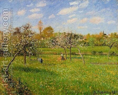 Morning, Spring, Grey Weather, Eragny by Camille Pissarro - Reproduction Oil Painting