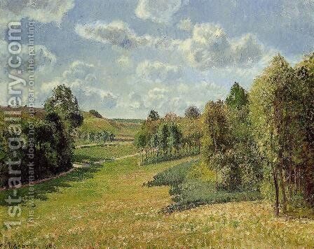 Berneval Meadows, Morning by Camille Pissarro - Reproduction Oil Painting