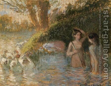 Bathing Goose Maidens by Camille Pissarro - Reproduction Oil Painting
