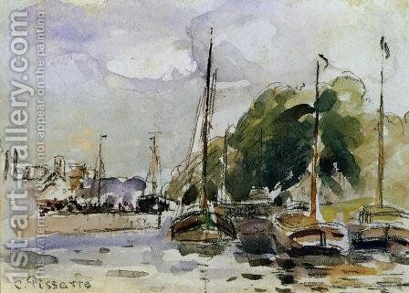 Boats at Dock by Camille Pissarro - Reproduction Oil Painting
