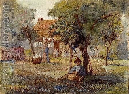 Family Garden by Camille Pissarro - Reproduction Oil Painting