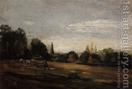 Peasant Working in the Fields by Camille Pissarro - Reproduction Oil Painting