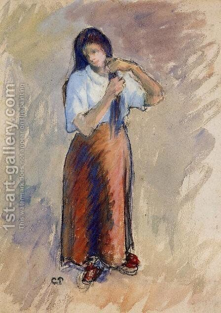 Young Woman Knotting Her Hair by Camille Pissarro - Reproduction Oil Painting