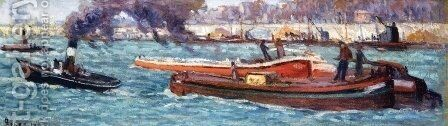 The Seine by Maximilien Luce - Reproduction Oil Painting