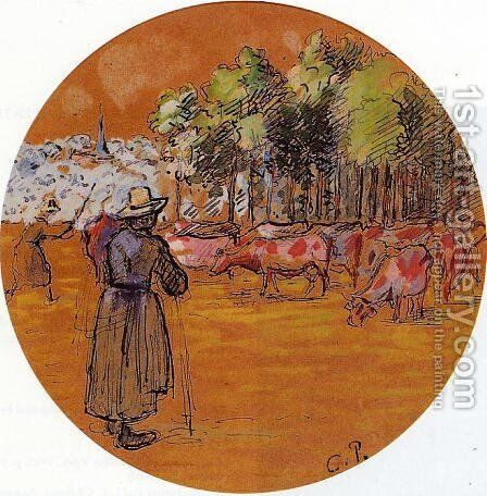 Cowherds, Bazincourt by Camille Pissarro - Reproduction Oil Painting