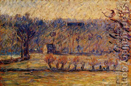 The Coast at Vaches-Bazincourt: Snow Effect by Camille Pissarro - Reproduction Oil Painting