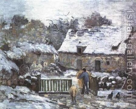 Farm at Montfoucault by Camille Pissarro - Reproduction Oil Painting