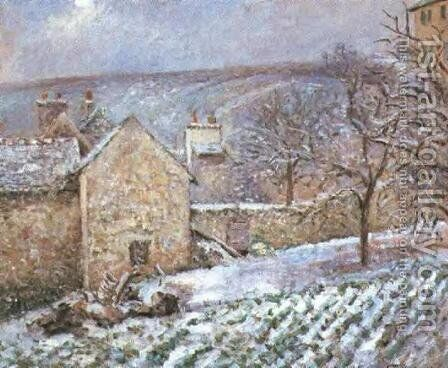 Snow at the Hermitage, Pontoise by Camille Pissarro - Reproduction Oil Painting