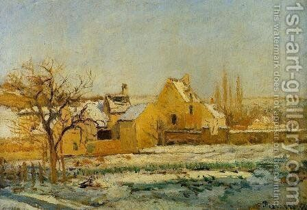 The Effect of Snow at l'Hermitage by Camille Pissarro - Reproduction Oil Painting