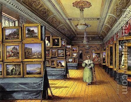 Interior of the Great Room at the Hotel du Chevald d'Or, Frankfurt AM, Open for the Exhibition of Pictures, May 1835 by Mary Ellen Best - Reproduction Oil Painting