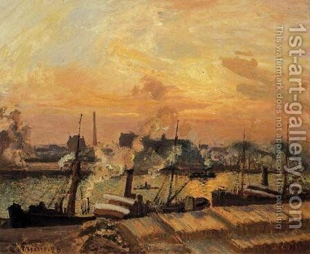 Boats, Sunset, Rouen by Camille Pissarro - Reproduction Oil Painting