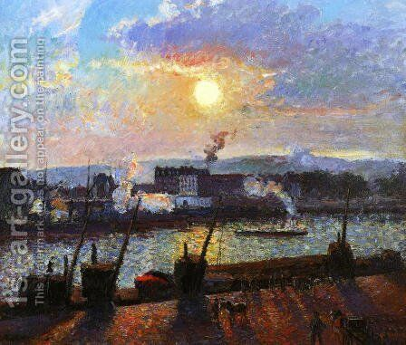 Sunset, Rouen by Camille Pissarro - Reproduction Oil Painting