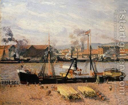 The Port of Rouen: Unloading Wood by Camille Pissarro - Reproduction Oil Painting