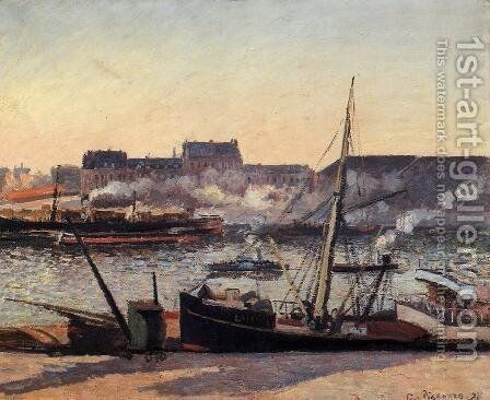 The Docks, Rouen: Afternoon by Camille Pissarro - Reproduction Oil Painting