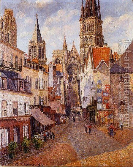 Sunlight, Afternoon, La Rue de l'Epicerie, Rouen by Camille Pissarro - Reproduction Oil Painting