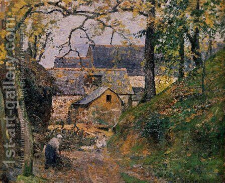 Farm at Montfoucault I by Camille Pissarro - Reproduction Oil Painting