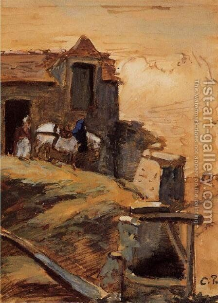 White Horse on a Farm by Camille Pissarro - Reproduction Oil Painting