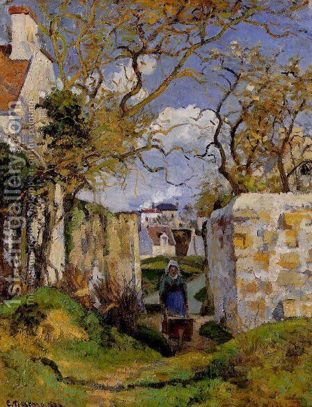 Peasant Pushing a Wheelbarrow, Maison Rondest, Pontoise by Camille Pissarro - Reproduction Oil Painting