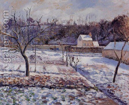 L'Hermitage, Pontoise: Snow Effect by Camille Pissarro - Reproduction Oil Painting