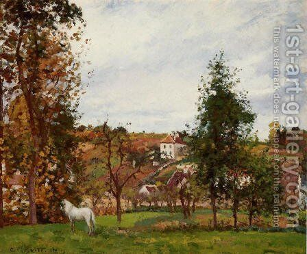 Landscape with a White Horse in a Meadow, L'Hermitage by Camille Pissarro - Reproduction Oil Painting