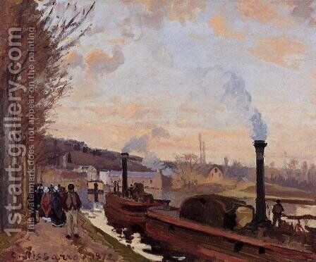 The Seine at Port-Marly by Camille Pissarro - Reproduction Oil Painting