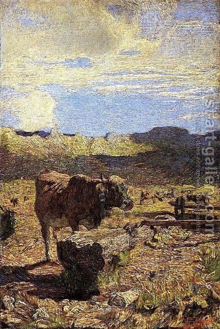 Cow at a Water Trough by Giovanni Segantini - Reproduction Oil Painting