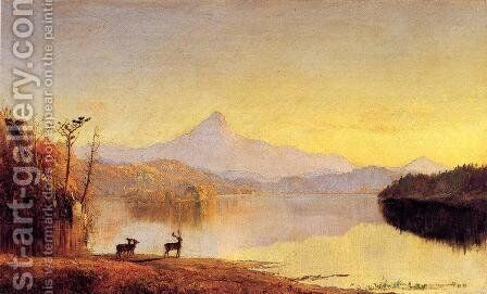Lake Scene, Mount Chocorua by Jasper Francis Cropsey - Reproduction Oil Painting