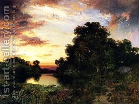 Sunset on Long Island by Thomas Moran - Reproduction Oil Painting