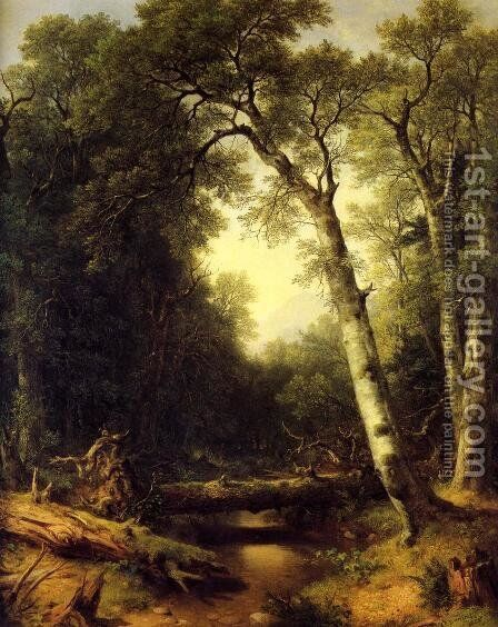 A Creek in the Woods by Asher Brown Durand - Reproduction Oil Painting